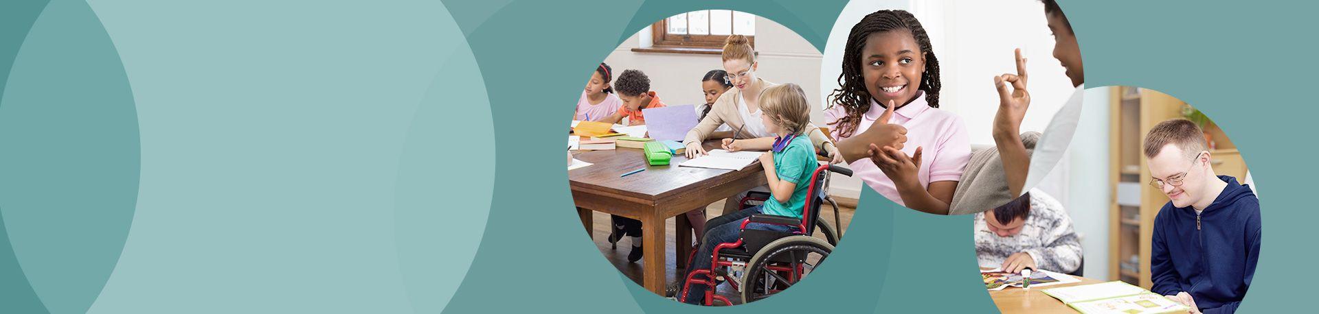 Enfants et adultes en situation de handicap étudiant à l'école